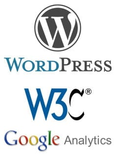 Wordpress-, W3C- ja Google Analytics -logot